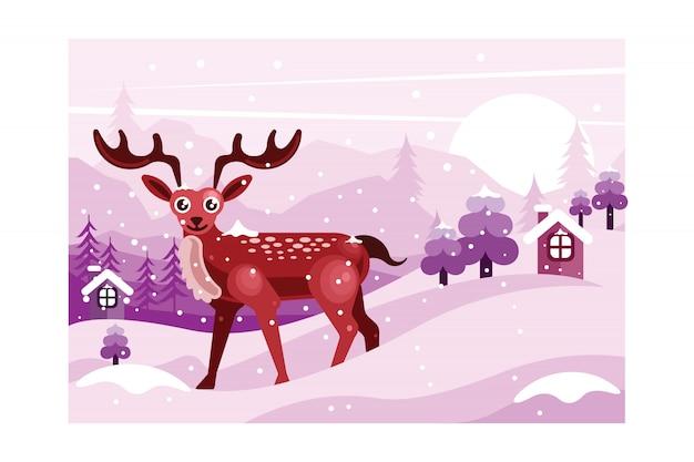 Paisagem de inverno com ilustração de veado