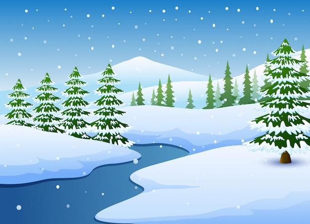 Paisagem de inverno com lago congelado e pinheiros
