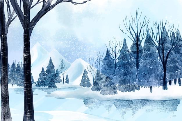 Paisagem de inverno com lago e árvores