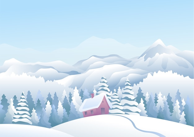 Paisagem de inverno com montanhas azuis e neve com casas de neve e floresta de pinheiros em primeiro plano