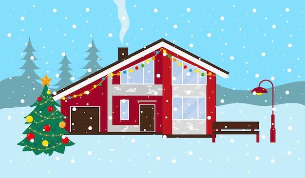Paisagem de inverno com neve. casa de campo, banco e árvore de natal do lado de fora. ilustração.