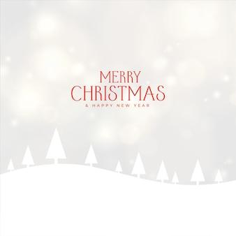 Paisagem de inverno com neve e desenho de árvore de natal