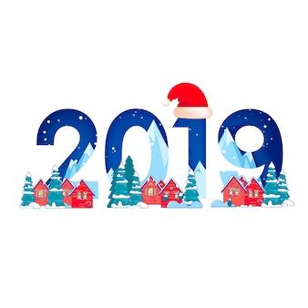 Paisagem de inverno com pinheiros na neve e números de 2019 para feliz ano novo
