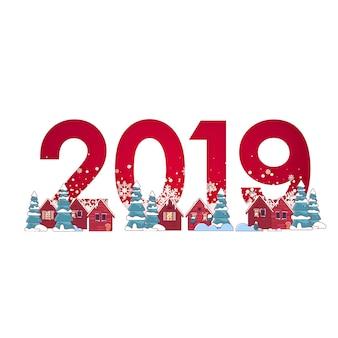 Paisagem de inverno com pinheiros na neve e números de 2019