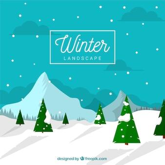 Paisagem de inverno com pinheiros