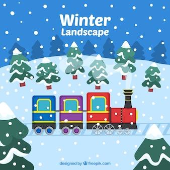 Paisagem de inverno com trem