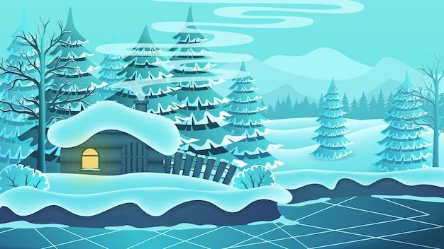 Paisagem de inverno com uma cabana na margem de um lago congelado