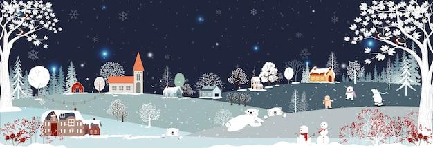 Paisagem de inverno, comemorando o natal e o ano novo em uma vila à noite com estrelas e céu azul,