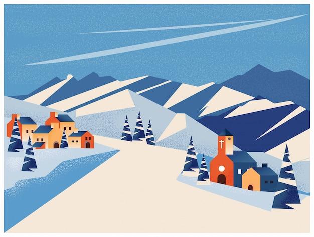 Paisagem de inverno da pequena aldeia na montanha ou pico