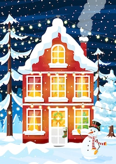 Paisagem de inverno de ano novo de natal