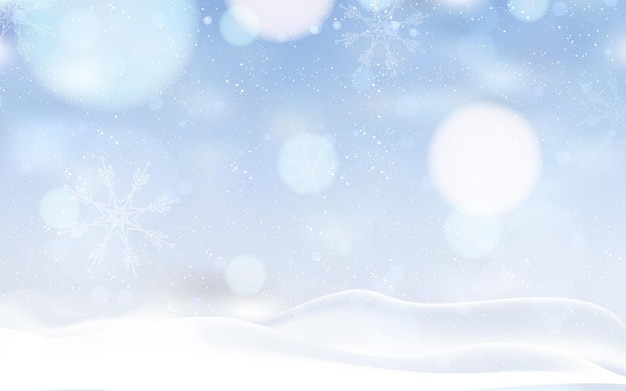 Paisagem de inverno desfocada com neve
