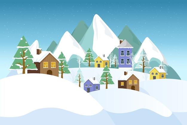 Paisagem de inverno design plano com casas diferentes