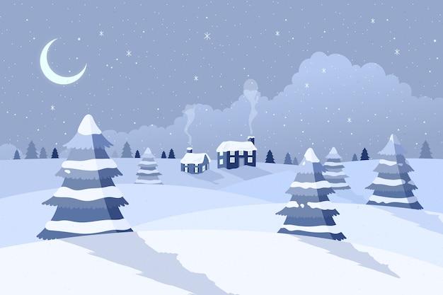 Paisagem de inverno design plano
