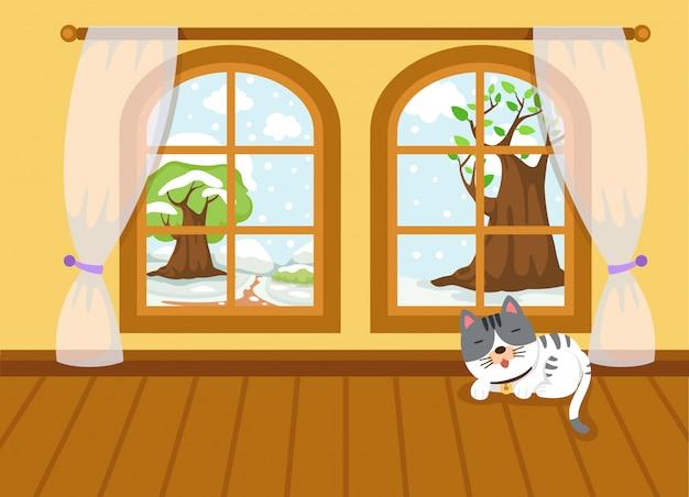Paisagem de inverno do vetor fora da janela