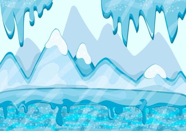 Paisagem de inverno dos desenhos animados com iceberg e gelo - fundo de natureza vetorial para jogos