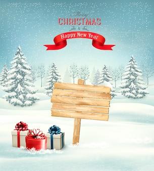 Paisagem de inverno e natal com fundo de placa de madeira ornamentado