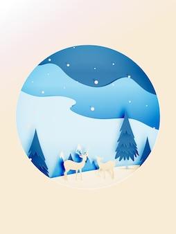 Paisagem de inverno e veados com estilo de arte de papel e ilustração em vetor esquema de cor pastel