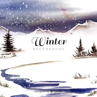 Paisagem de inverno em aquarela