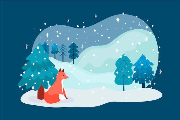 Paisagem de inverno em design plano