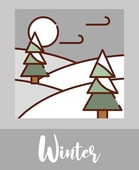 Paisagem de inverno em estilo linear com árvores e neve