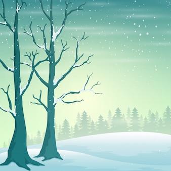 Paisagem de inverno férias com queda de neve e árvores nuas