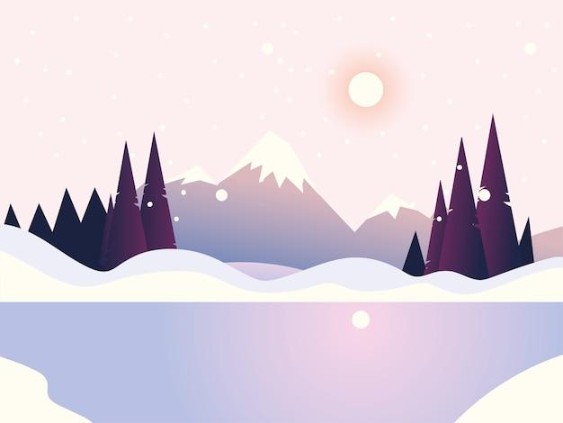 Paisagem de inverno, floresta de pinheiros e ilustração do lago