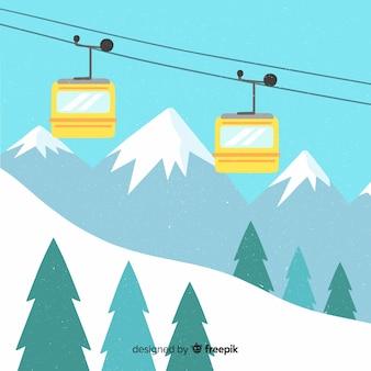 Paisagem de inverno funicular plana