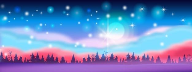 Paisagem de inverno horizontal de natal com céu noturno, estrelas, silhuetas de árvores, nuvens