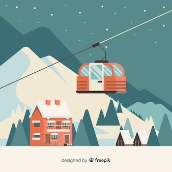 Paisagem de inverno linda com design plano