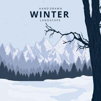 Paisagem de inverno linda mão desenhada