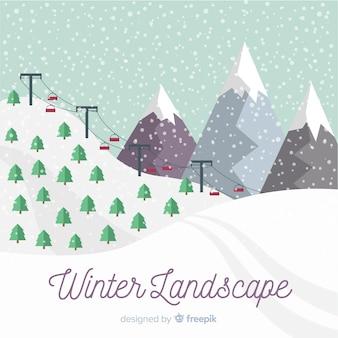 Paisagem de inverno montanha coberta de neve