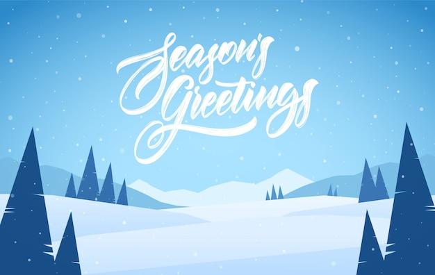 Paisagem de inverno nevado de montanhas azuis com pinheiros e letras de mão de saudações da temporada. cartão de natal.