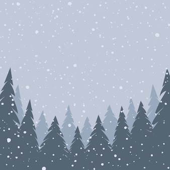 Paisagem de inverno. neve caíndo. fundo de natal. ilustração vetorial