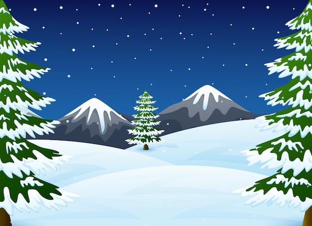 Paisagem de inverno noite com montanhas e pinheiro Vetor Premium
