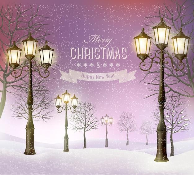 Paisagem de inverno noite de natal com postes de luz vintage.