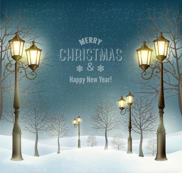 Paisagem de inverno noite de natal com postes de luz.