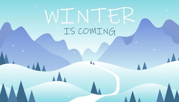 Paisagem de inverno plana horizontal com árvores de estrada de montanhas e o inverno está chegando letras