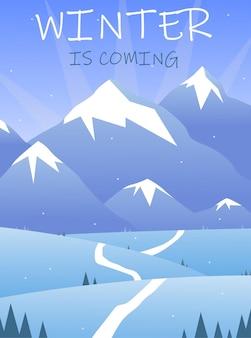 Paisagem de inverno plana vertical com árvores de estrada de montanhas cobertas de neve e letras