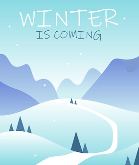 Paisagem de inverno plana vertical com árvores de estrada de montanhas e o inverno está chegando letras