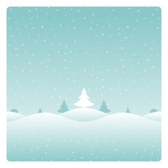 Paisagem de inverno retrô de natal e cartão de árvores.