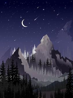 Paisagem de inverno vertical de noite estrelada com pinheiro florestal, lua crescente, estrela brilhante e cometa caindo atrás da montanha