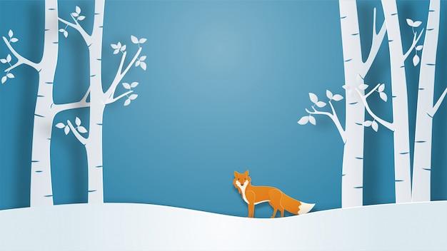 Paisagem de inverno vista fundo com raposa solitária no estilo de corte de papel.