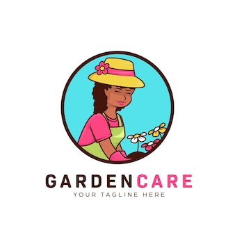 Paisagem de jardinagem de flores e logotipo de gramado com ilustração de mascote de mulher humilde jardineira africana