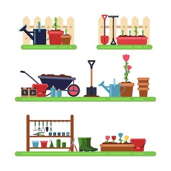Paisagem de jardins com móveis diferentes. verão ao ar livre