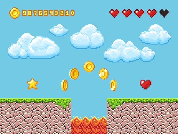 Paisagem de jogo de pixel de vídeo com moedas de ouro, nuvens brancas e ilustração vetorial de corações vermelhos