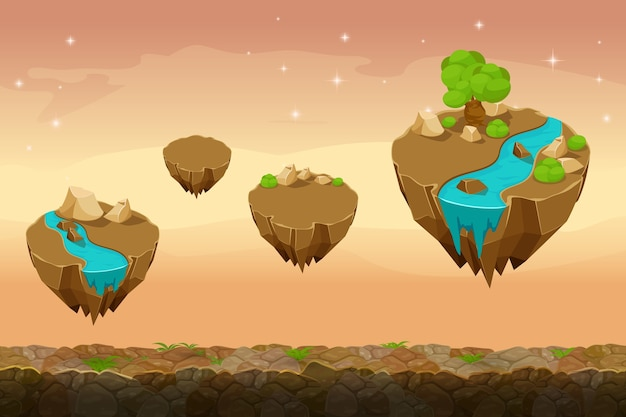 Paisagem de jogo noturno na pradaria, fundo de jogo interminável com rios nas ilhas. natureza gui, paisagem de interface, interface de jogo de viagem. ilustração vetorial