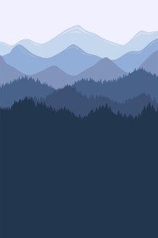 Paisagem de manhã cordilheira com nevoeiro e floresta. amanhecer e o pôr do sol nas montanhas vector a ilustração vertical