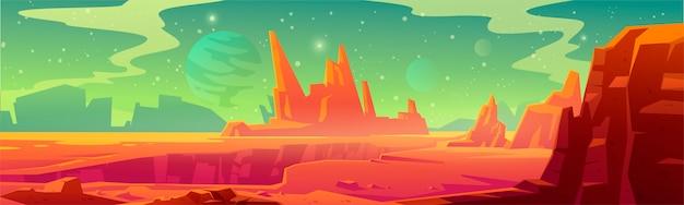 Paisagem de marte, planeta alienígena vermelho