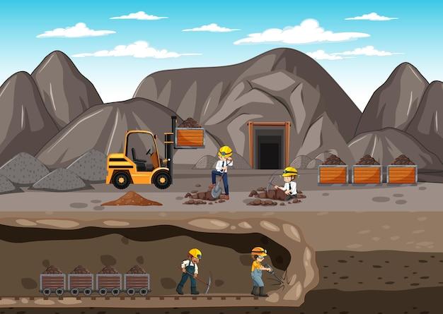 Paisagem de mineração de carvão com cena subterrânea