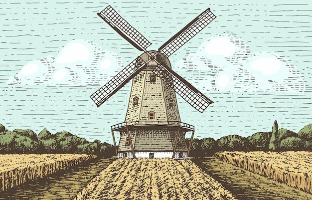 Paisagem de moinho de vento em vintage, retrô mão desenhada ou gravada estilo